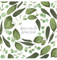 card floral design with green watercolor herbs vector image