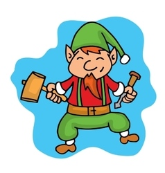 Cartoon elf helper with hammer Christmas vector image