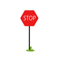 cartoon icon of red traffic sign with word stop vector image