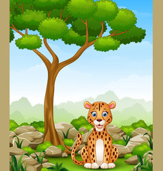 Cartoon leopard sitting in the jungle vector