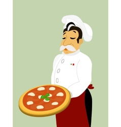 Chef with mozzarella pizza vector