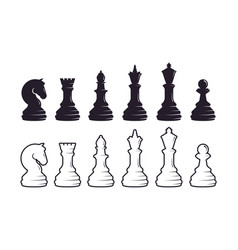 chess pieces silhouette set strategic vector image