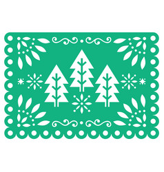 christmas papel picado design - xmas trees vector image