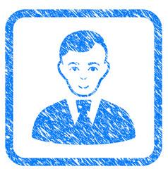 Clerk guy framed stamp vector
