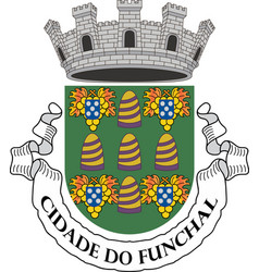 Coat of arms funchal in madeira of portugal vector