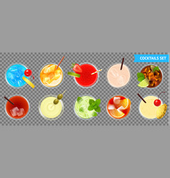 cocktails transparent set vector image