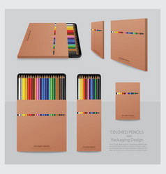 Color pencils with packaging design realistic vector