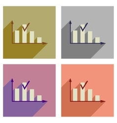 Concept of flat icons with long shadow graph vector image