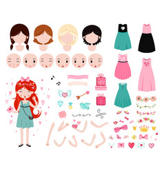 constructor for valentines day adorable young vector image
