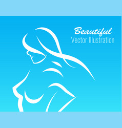 contour beautiful girl ob blue background vector image