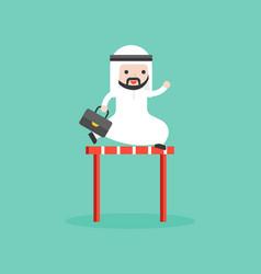 Cute arab businessman jump cross over hurdles vector