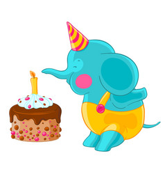 Cute baby elephant in hat and pants blow out the vector