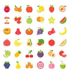 cute fruit and berries flat icon set 2 vector image