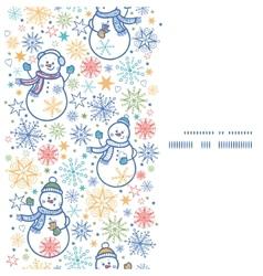 cute snowmen vertical frame seamless pattern vector image