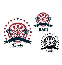 Darts icons with arrows and dartboard vector image