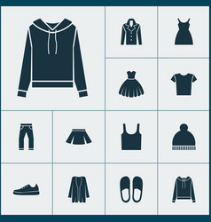 dress icons set with gumshoes clothes skirt and vector image