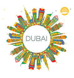 dubai uae city skyline with color buildings and vector image