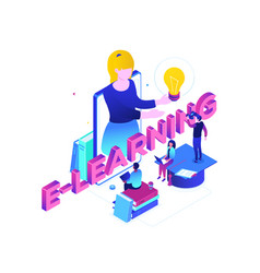 e-learning concept - modern colorful isometric vector image