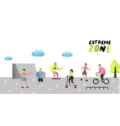 Extreme sports poster banner brochure teenagers vector