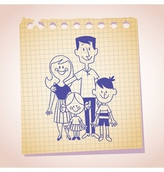 family of four note paper sketch vector image