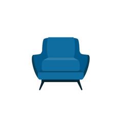 Flat cartoon blue armchair isolated on white vector