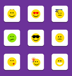 Flat icon emoji set of frown asleep happy and vector