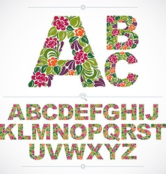 Floral font hand-drawn capital alphabet letters vector image