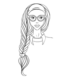 Girl in glasses and with long braid vector