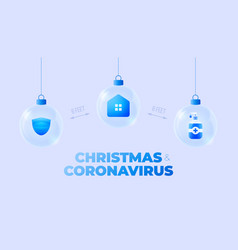 glass christmas coronavirus ball banner christmas vector image