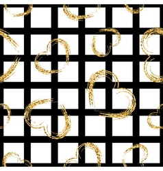 Golden grunge hearts seamless pattern vector image