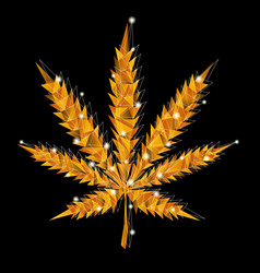 golden marijuana leaf vector image