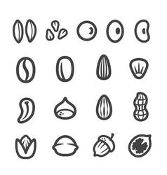 grainnutseed thin line icon set vector image
