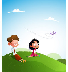 Happy kids jumping together during a sunny day vector