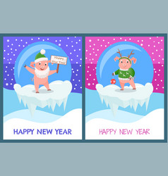 happy new year piglets celebration glass toys vector image