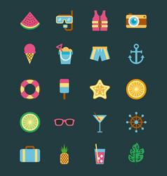 hello summer icon set background vector image