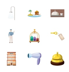 Hostel accommodation icons set cartoon style vector