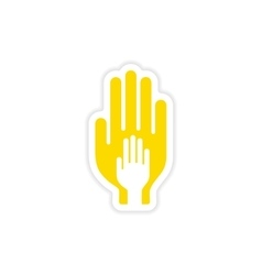 Icon sticker realistic design on paper hands vector