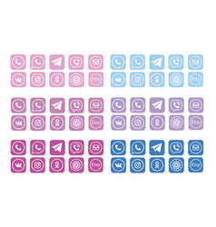 Internet icons social media complete web vector