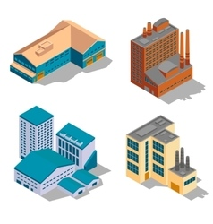 Isometric factory and industrial buildings set vector image