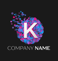 letter k logo with blue purple pink particles vector image