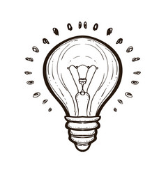 light bulb with shining coloring book for adults vector image