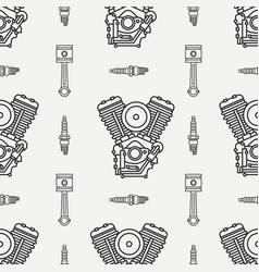 Line seamless pattern motorcycle classic vector