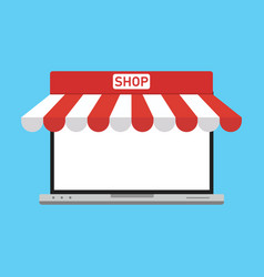 marketplace on a laptop flat design graphic vector image