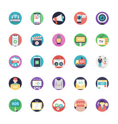 Media and advertisement flat icons set vector