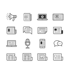media icons set - simplus vector image