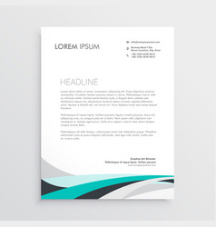 Modern letterhead design template with blue wavy vector