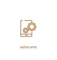 Native apps concept 2 colored icon simple line vector