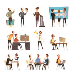 Online meeting icons set vector