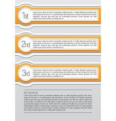 Orange and white rounded infographic lables vector image