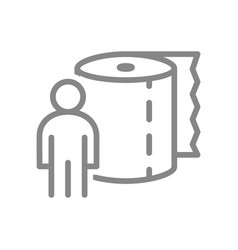 Paper towels and human line icon roll vector